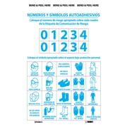 Right To Know Labels, Personal Protection Numbers & Symbols (Bilingual), Adhesive Vinyl, 10/Pk