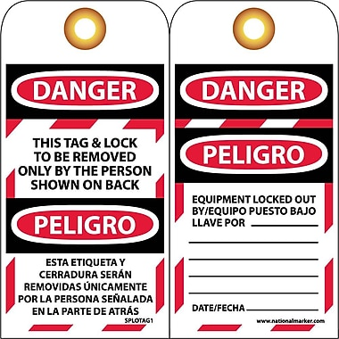Lockout Tags, Lockout, Danger This Tag & Lock To Be Removed Only. (Bilingual), 6X3, Unrip Vinyl