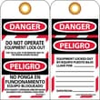 Lockout Tags, Danger, Do Not Operate Equipment Lock Out, Bilingual, 6X3, Unrip Vinyl, 25/Pk