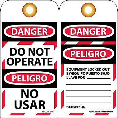 Lockout Tags, Danger, Do Not Operate, Bilingual, 6X3, Unrip Vinyl, 10/Pk