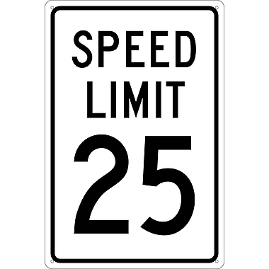 Speed Limit 25, 18X12, .040 Aluminum