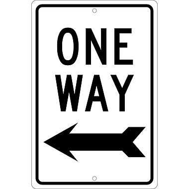One Way (With Left Arrow), 18X12, .063 Aluminum