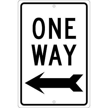 One Way (Left Arrow), 18X12, .080 Hip Ref Aluminum