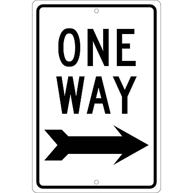 One Way (With Right Arrow), 18X12, .063 Aluminum
