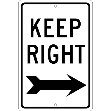 Keep Right (With Arrow), 18X12, .063 Aluminum