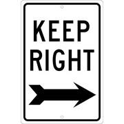 Keep Right (Right Arrow, 18X12, .080 Hip Ref Aluminum