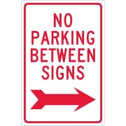 No Parking Between Signs (W/ Right Arrow), 18X12, .040 Aluminum