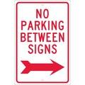 No Parking Between Signs (W/ Right Arrow), 18X12, .063 Aluminum