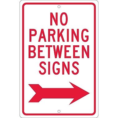 No Parking Between Signs (W/ Right Arrow), 18X12, .063 Aluminum