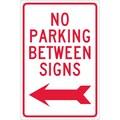 No Parking Between Signs (W/ Left Arrow), 18X12, .040 Aluminum