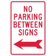 No Parking Between Signs (W/ Left Arrow), 18X12, .040 Aluminum