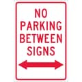 No Parking Between Signs (W/ Double Arrow), 18X12, .040 Aluminum