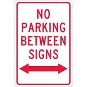 No Parking Between Signs (W/ Double Arrow), 18X12, .040 Aluminum