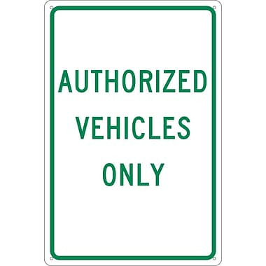 Authorized Vehicles Only, 18X12, .040 Aluminum