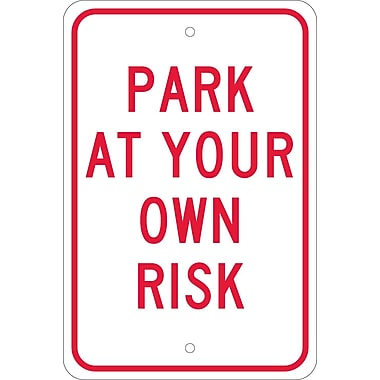 Park At Your Own Risk, 18X12, .080 Egp Ref Aluminum
