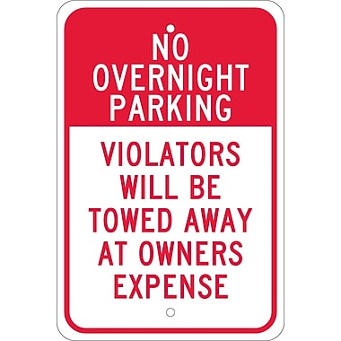 No Overnight Parking Violators Will Be Towed Away At Owners Expense, 18