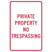 Private Property No Trespassing, 18X12, .040 Aluminum