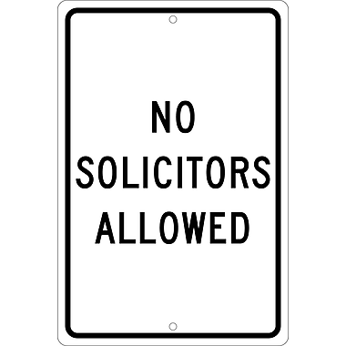 No Solicitors Allowed, 18X12, .063 Aluminum