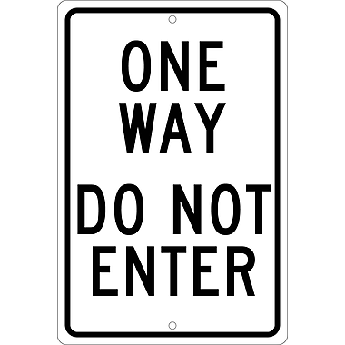One Way Do Not Enter, 18X12, .063 Aluminum