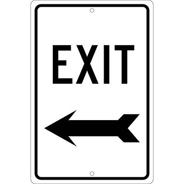 Exit (Left Arrow), 18X12, .080 Hip Ref Aluminum