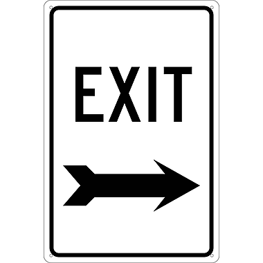 Exit (With Right Arrow), 18X12, .040 Aluminum