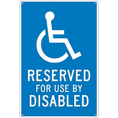 Reserved For Use By Disabled, 18X12, .040 Aluminum