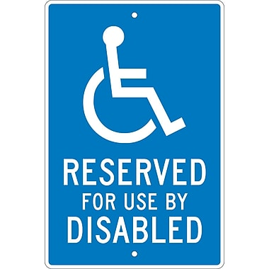 Reserved For Use By Disabled, 18X12, .063 Aluminum