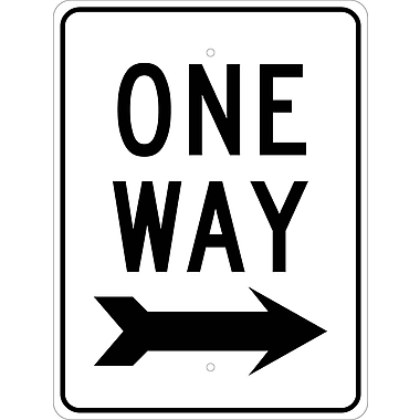 One Way (W/Right Arrow), 24X18, .080 Egp Ref Aluminum