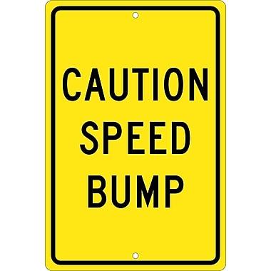 Caution Speed Bump, 18X12, .080 Hip Ref Aluminum