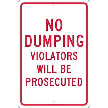 No Dumping Violators Will Be Prosecuted, 18X12, .063 Aluminum