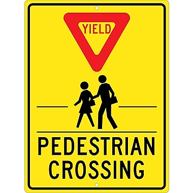 Yield (Graphic) Pedestrian Crosswalk, 24X18, .080 Hip Ref Aluminum