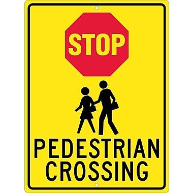 Stop (Graphic) Pedistrian Crossing, 24X18, .080 Hip Ref Aluminum