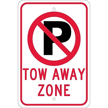 Graphic(No Parking Symbol) Tow Away Zone, 18X12, .080 Egp Ref Aluminum