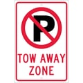 Graphic(No Parking Symbol) Tow Away Zone, 18X12, .080 Hip Ref Aluminum