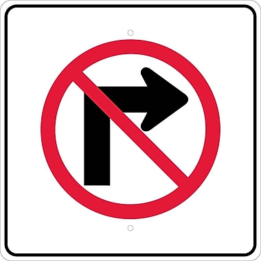 Graphic, No Right Turn Arrow Symbol, 24X24, .080 Egp Ref Aluminum