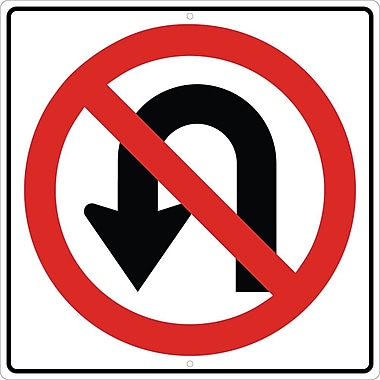 Graphic, No U Turn Left Arrow Symbol, 24X24, .080 Hip Ref Aluminum