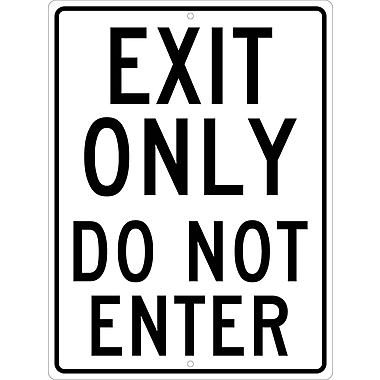 Exit Only Do Not Enter, 24X18 .080 Hip Ref Aluminum