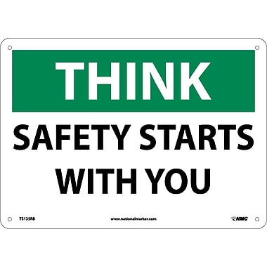 Think, Safety Starts With You, 10X14, Rigid Plastic