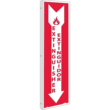 Flange, Fire Extinguisher Bilingual, 18X4, Rigid Plastic