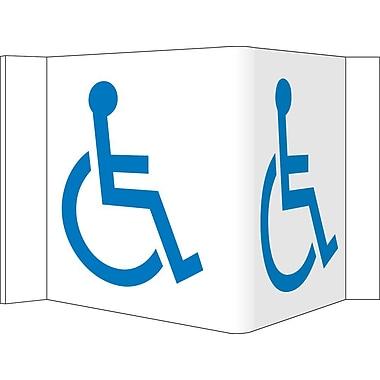 Visi Sign, Handicapped Symbol, White, 5 3/4X8 3/4, .125 PVC Plastic