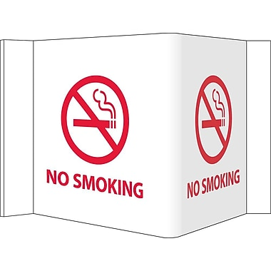 Visi Sign, No Smoking, White, 5 3/4X8 3/4, .125 PVC Plastic