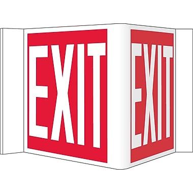 Visi Sign, Exit, Red, 8X14 1/2, .125 PVC Plastic