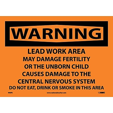 Warning, Lead Work Area Poison No Smoking Or Eating, 10X14, Adhesive Vinyl