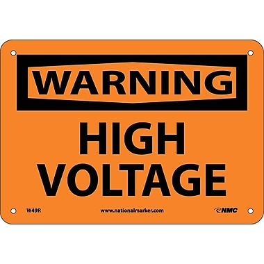 Warning, High Voltage, 7X10, Rigid Plastic