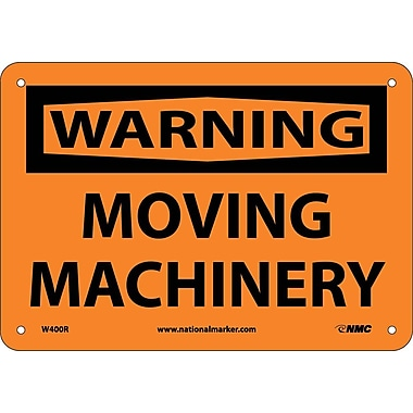 Warning, Moving Machinery, 7X10, Rigid Plastic