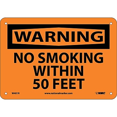 Warning, No Smoking Within 50 Feet, 7X10, Rigid Plastic