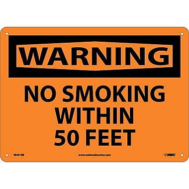 Warning, No Smoking Within 50 Feet, 10X14, Rigid Plastic