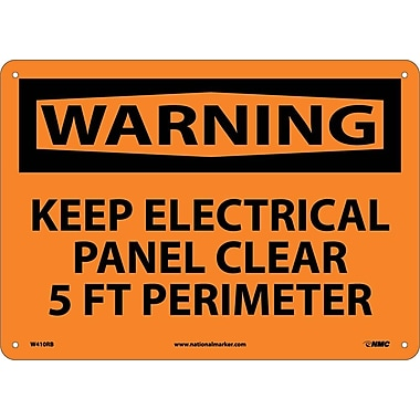 Warning, Keep Electrical Panel Clear 5 Ft Perimeter, 10X14, Rigid Plastic