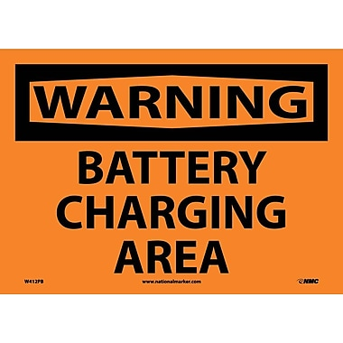 Warning, Battery Charging Area, 10X14, Adhesive Vinyl