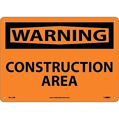 Warning, Construction Area, 10X14, Rigid Plastic